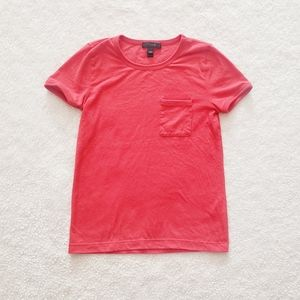J. Crew Red-Orange Short Sleeve Pocket Tee